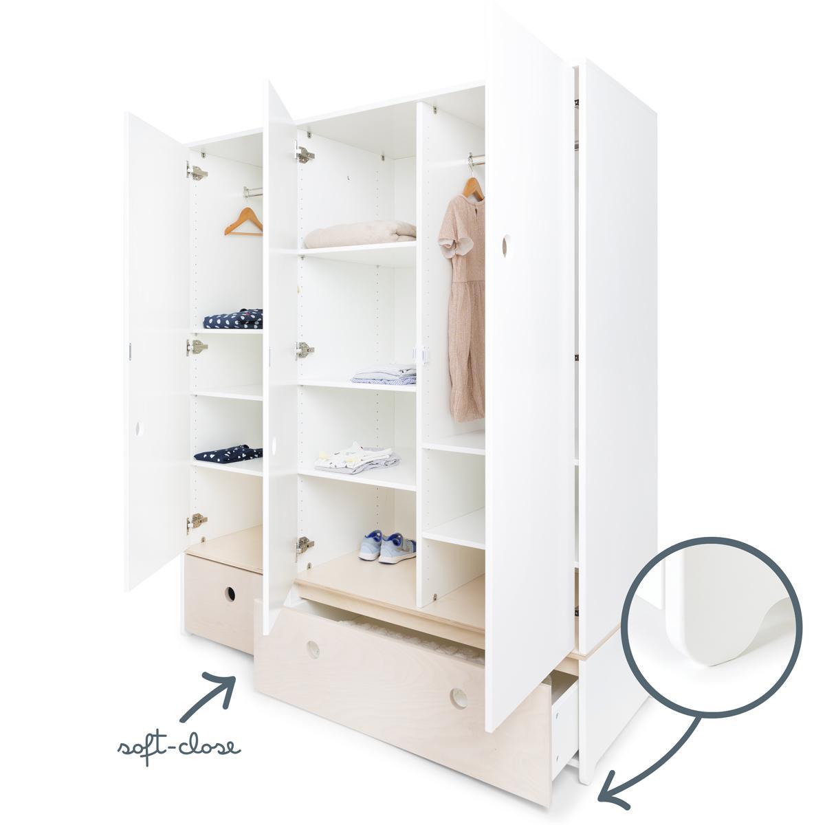 Kleiderschrank 3-türig COLORFLEX Schubladen white wash