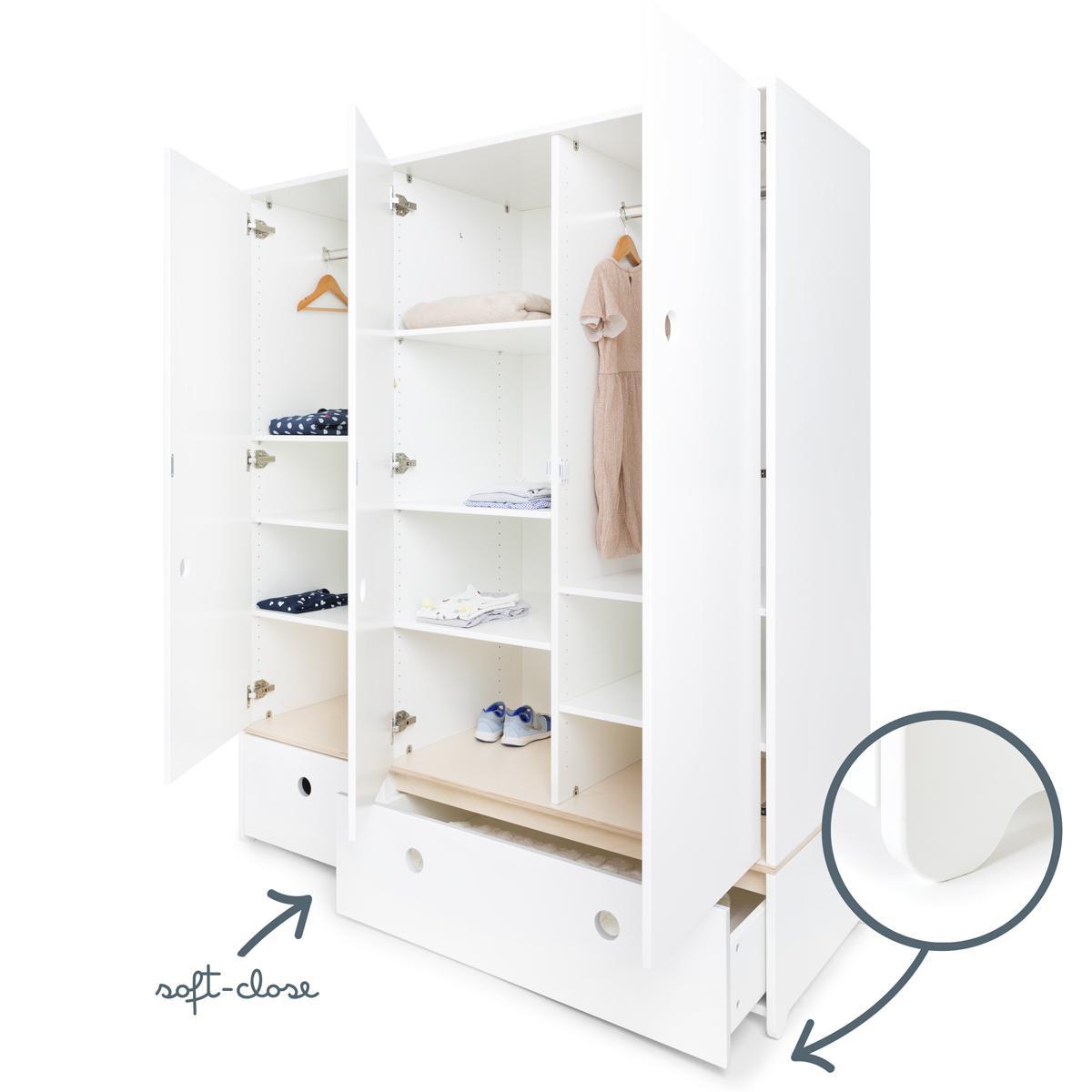 Kleiderschrank 3-türig COLORFLEX Schubladen white