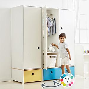 Kleiderschrank 3-türig ohne Frontschubladen COLORFLEX Abitare Kids
