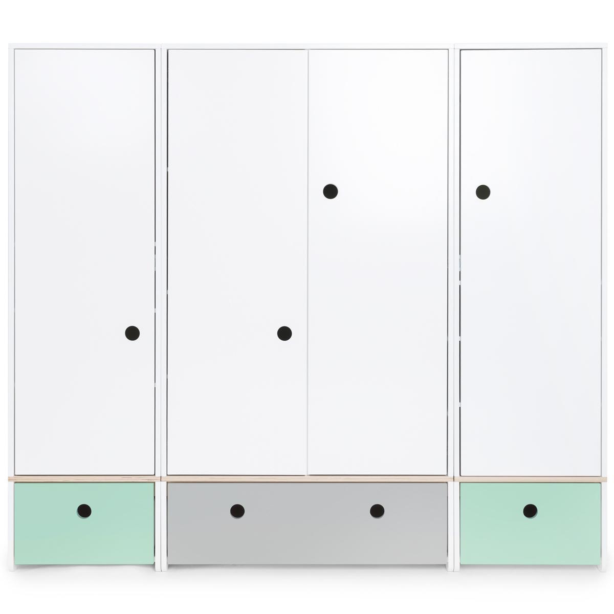 Kleiderschrank 4-türig COLORFLEX Abitare Kids Schubladen mint-pearl grey-mint