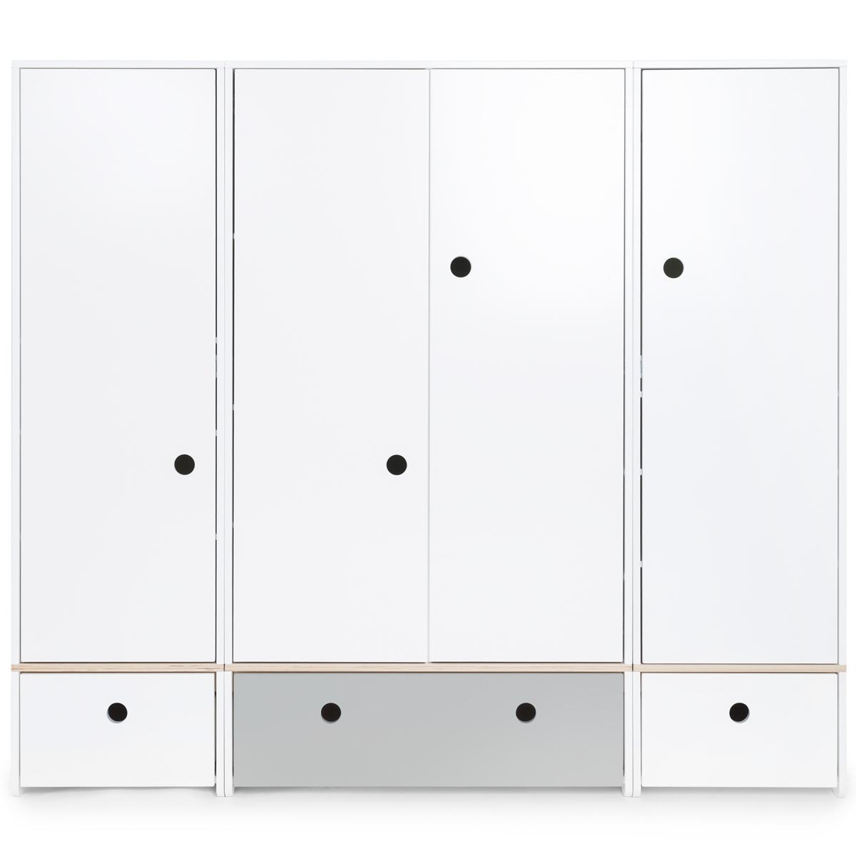 Kleiderschrank 4-türig COLORFLEX Abitare Kids Schubladen white-pearl grey-white