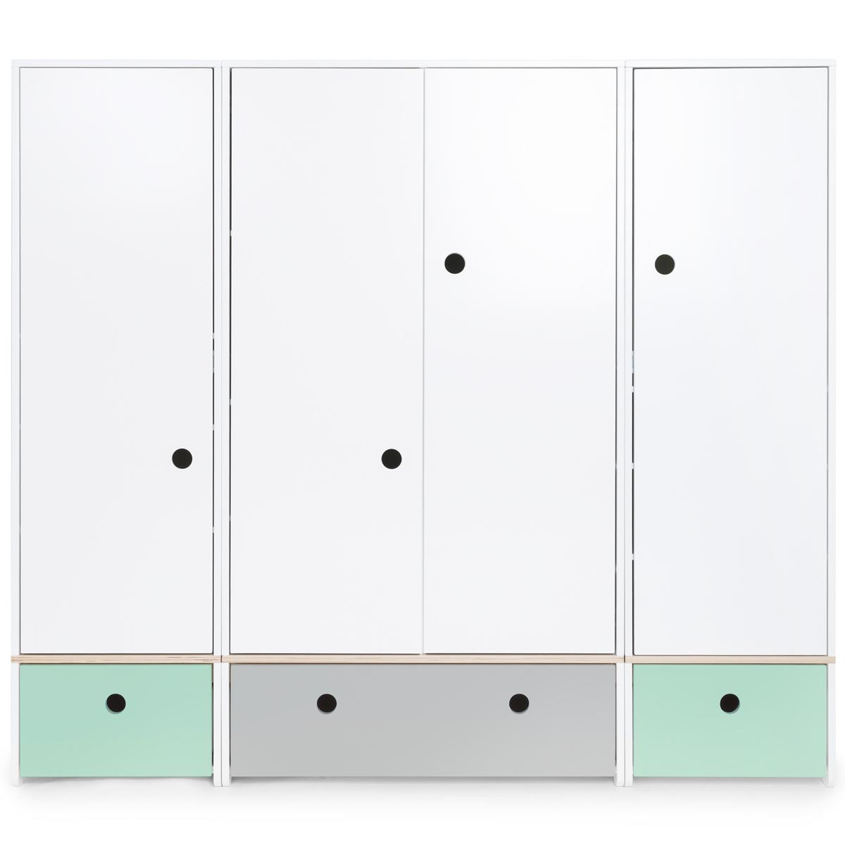 Kleiderschrank 4-türig COLORFLEX Schubladen mint-pearl grey-mint