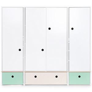 Kleiderschrank 4-türig COLORFLEX Schubladen mint-white wash-mint