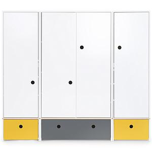 Kleiderschrank 4-türig COLORFLEX Schubladen nectar yellow-space grey-nectar yellow
