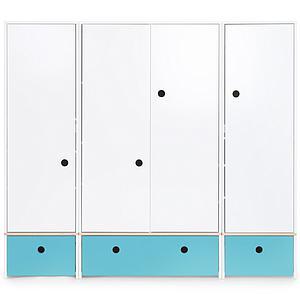 Kleiderschrank 4-türig COLORFLEX Schubladen paradise blue