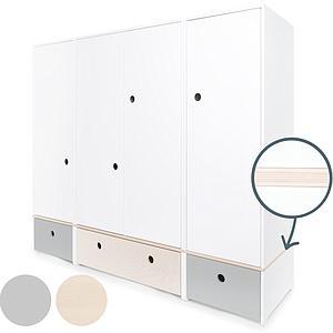 Kleiderschrank 4-türig COLORFLEX Schubladen pearl grey-white wash-pearl grey