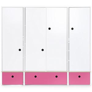 Kleiderschrank 4-türig COLORFLEX Schubladen pink