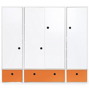 Kleiderschrank 4-türig COLORFLEX Schubladen pure orange