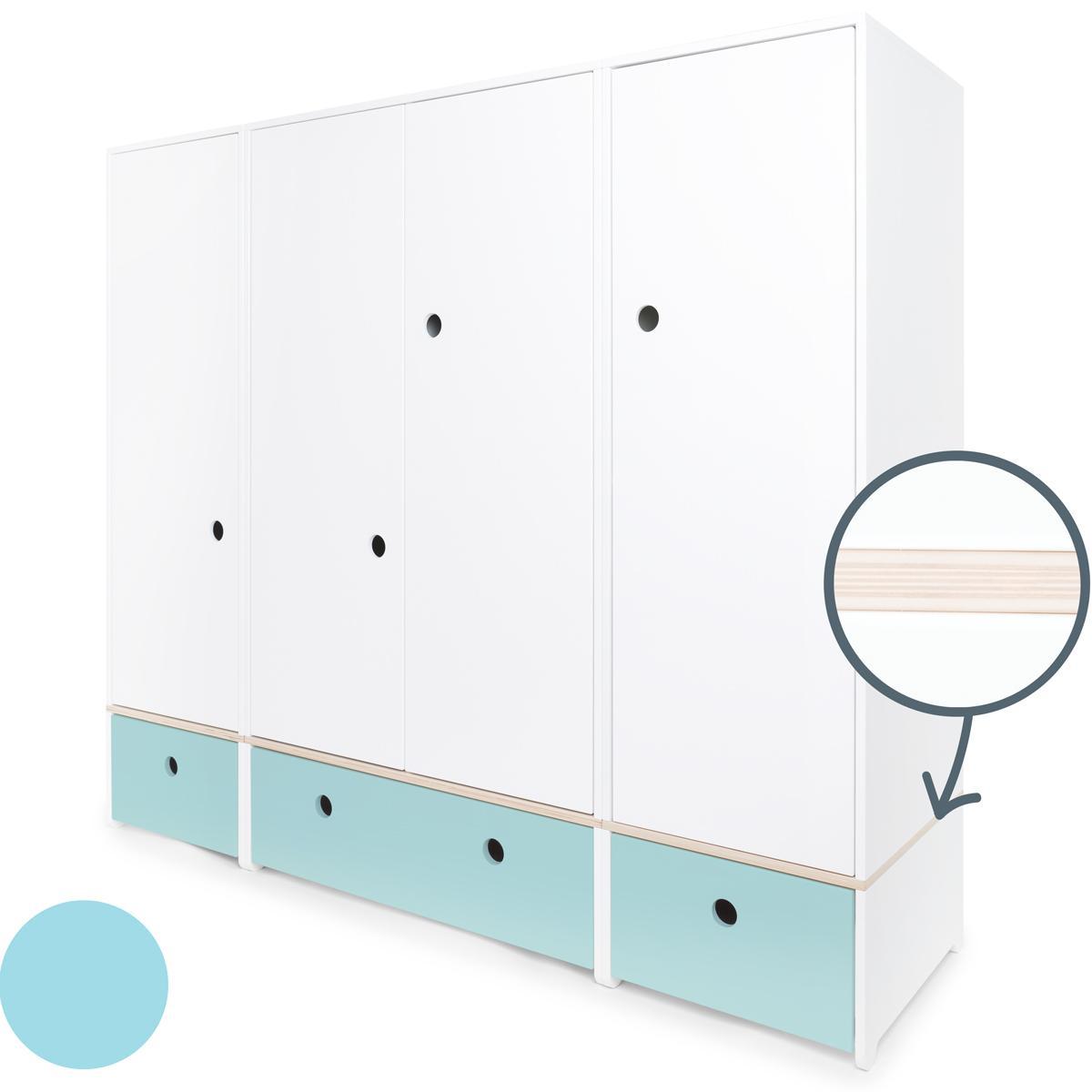 Kleiderschrank 4-türig COLORFLEX Schubladen sky blue