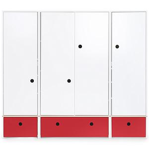 Kleiderschrank 4-türig COLORFLEX Schubladen true red