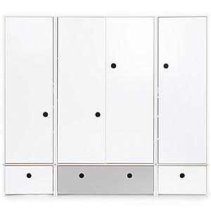 Kleiderschrank 4-türig COLORFLEX Schubladen white-pearl grey-white