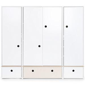 Kleiderschrank 4-türig COLORFLEX Schubladen white-white wash-white