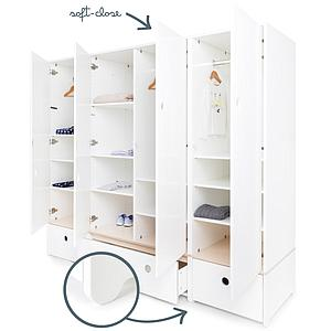 Kleiderschrank 4-türig COLORFLEX Schubladen white