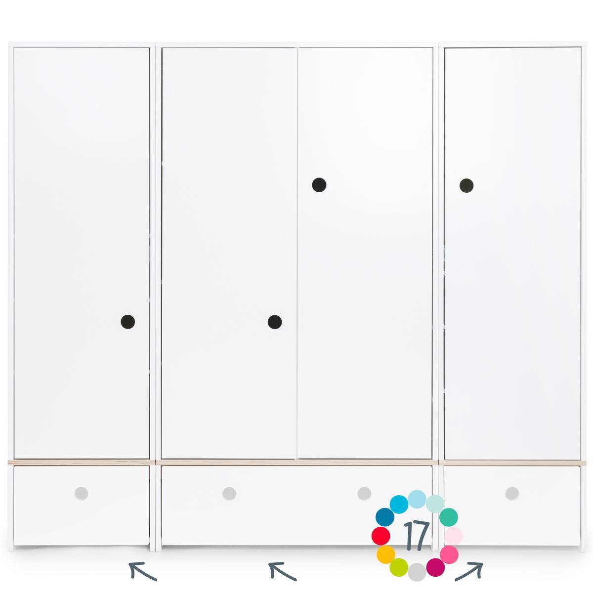 Kleiderschrank 4-türig ohne Frontschubladen COLORFLEX Abitare Kids