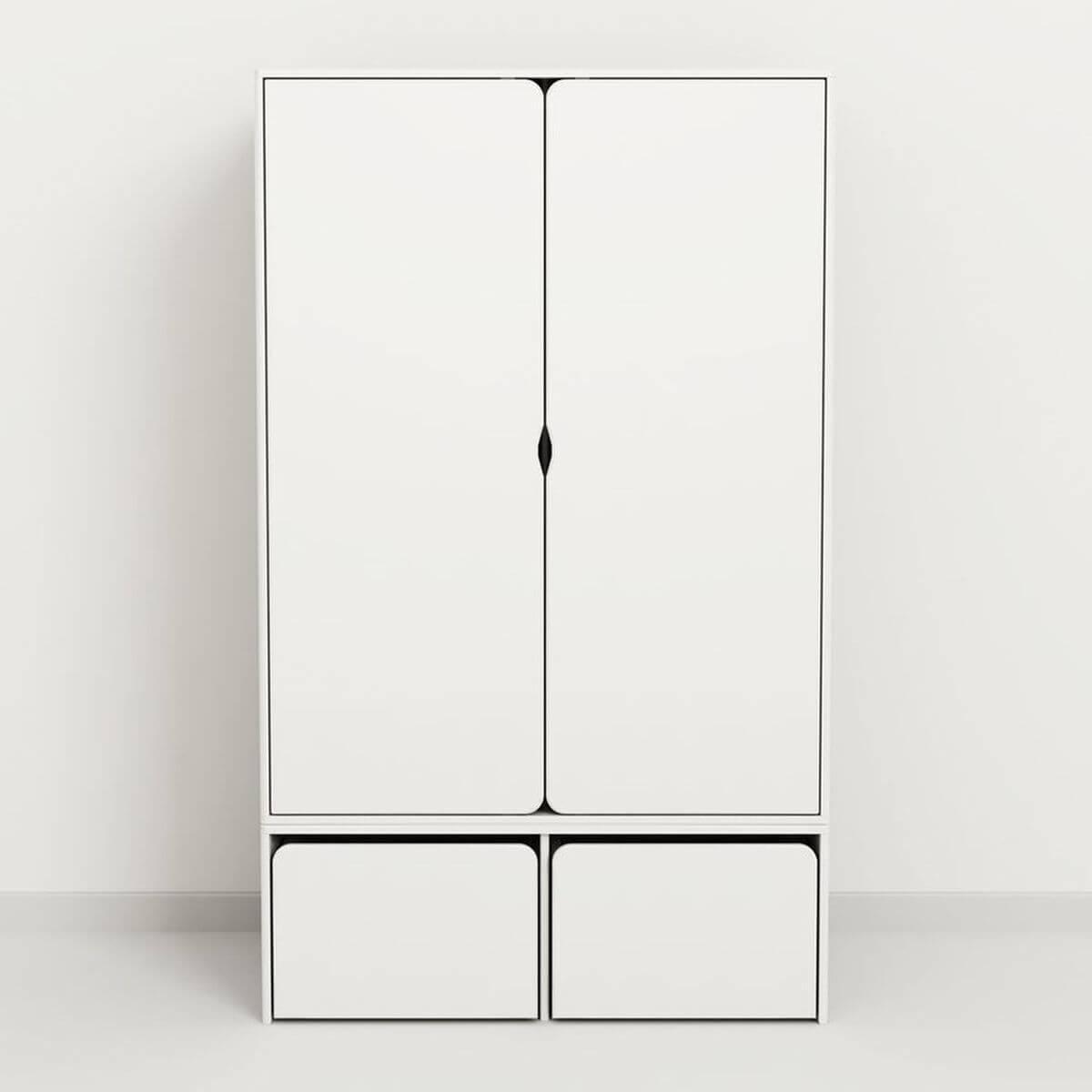 Kleiderschrank niedrig 2 Türen CABBY by Flexa weiß