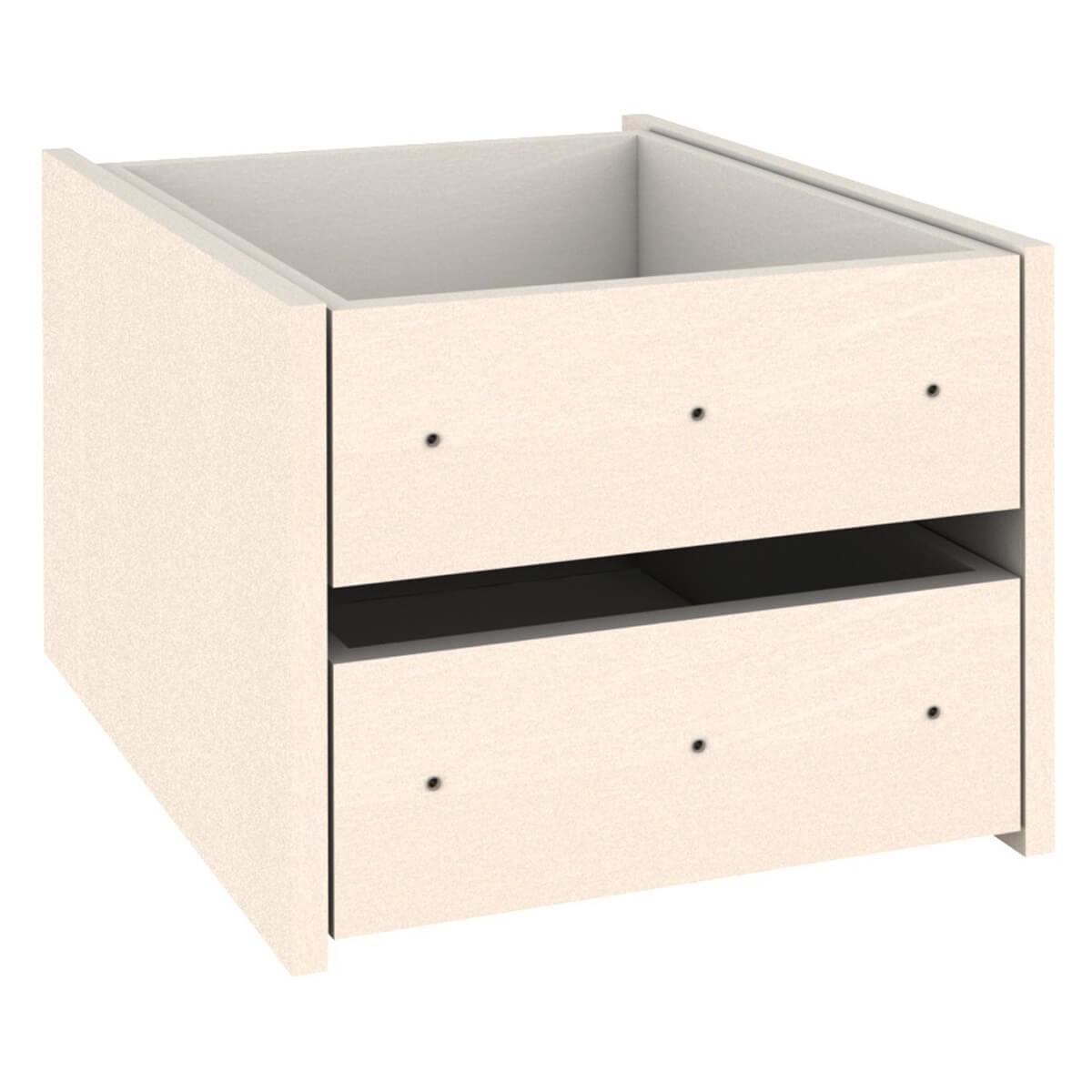 Kleiderschrank-Schubladen 2er-Set  Einbau-Schubkasten DESTYLE Debreuyn Buchenfurnierte Spanplatte weiß gebeizt-lackiert