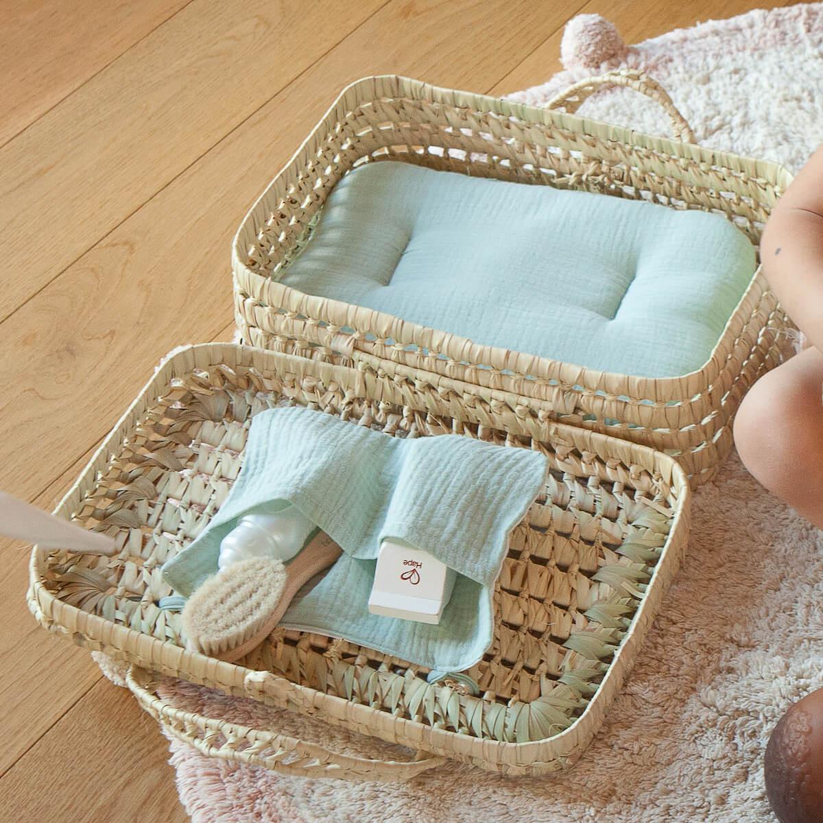 Koffer aus Palmblattgeflecht für Puppe BOBBLE grün