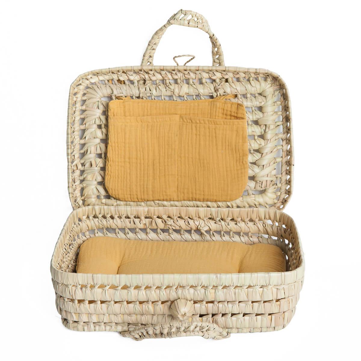 Koffer aus Palmblattgeflecht für Puppe BOBBLE senfgelb