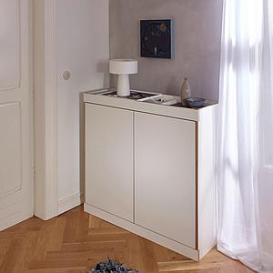 Kommode 2 Türen FLAI Mueller weiß-Birkenkante