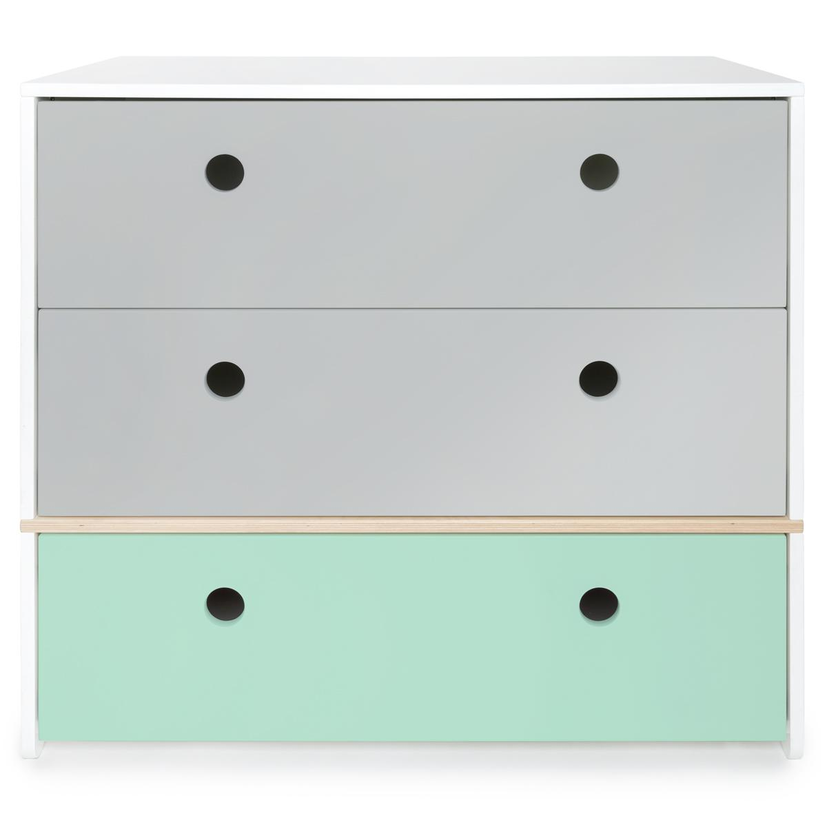 Kommode COLORFLEX Abitare Kids Schubladen Farben pearl grey-pearl grey-mint