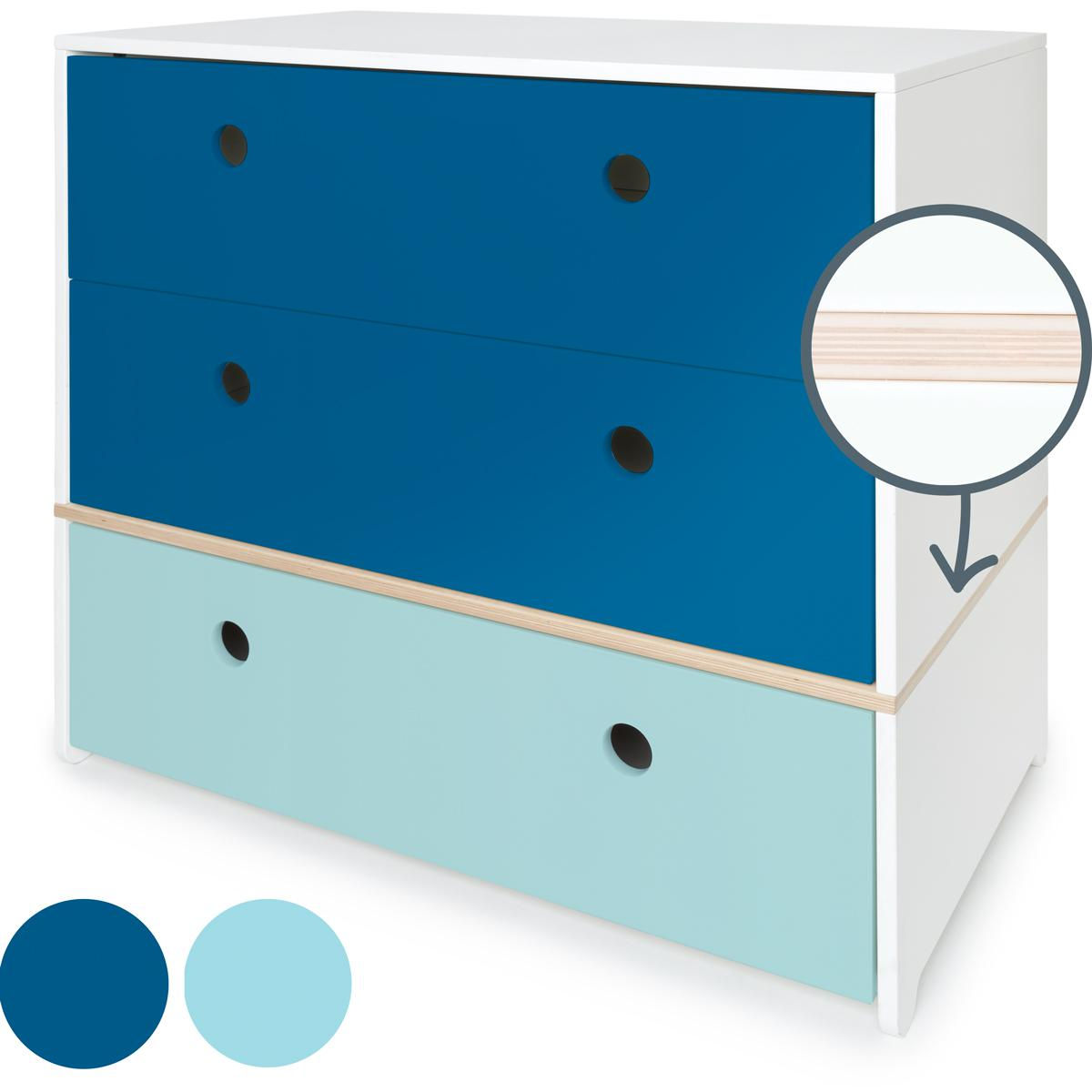 Kommode COLORFLEX Schubladen Farben deep marine-deep marine-sky blue