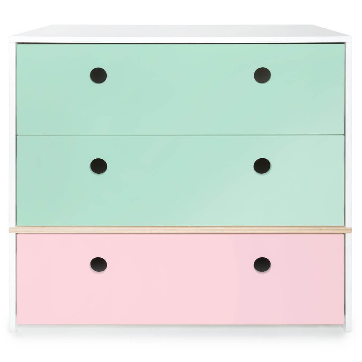 Kommode COLORFLEX Schubladen Farben mint-mint-sweet pink