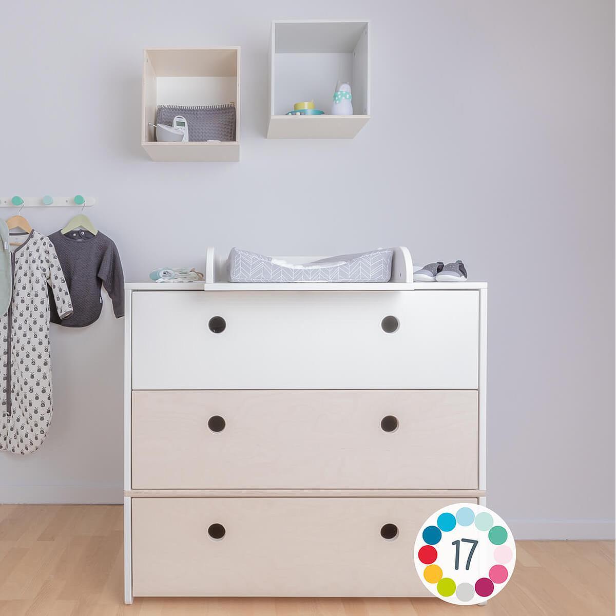 Kommode COLORFLEX Schubladen Farben mint-mint-white wash