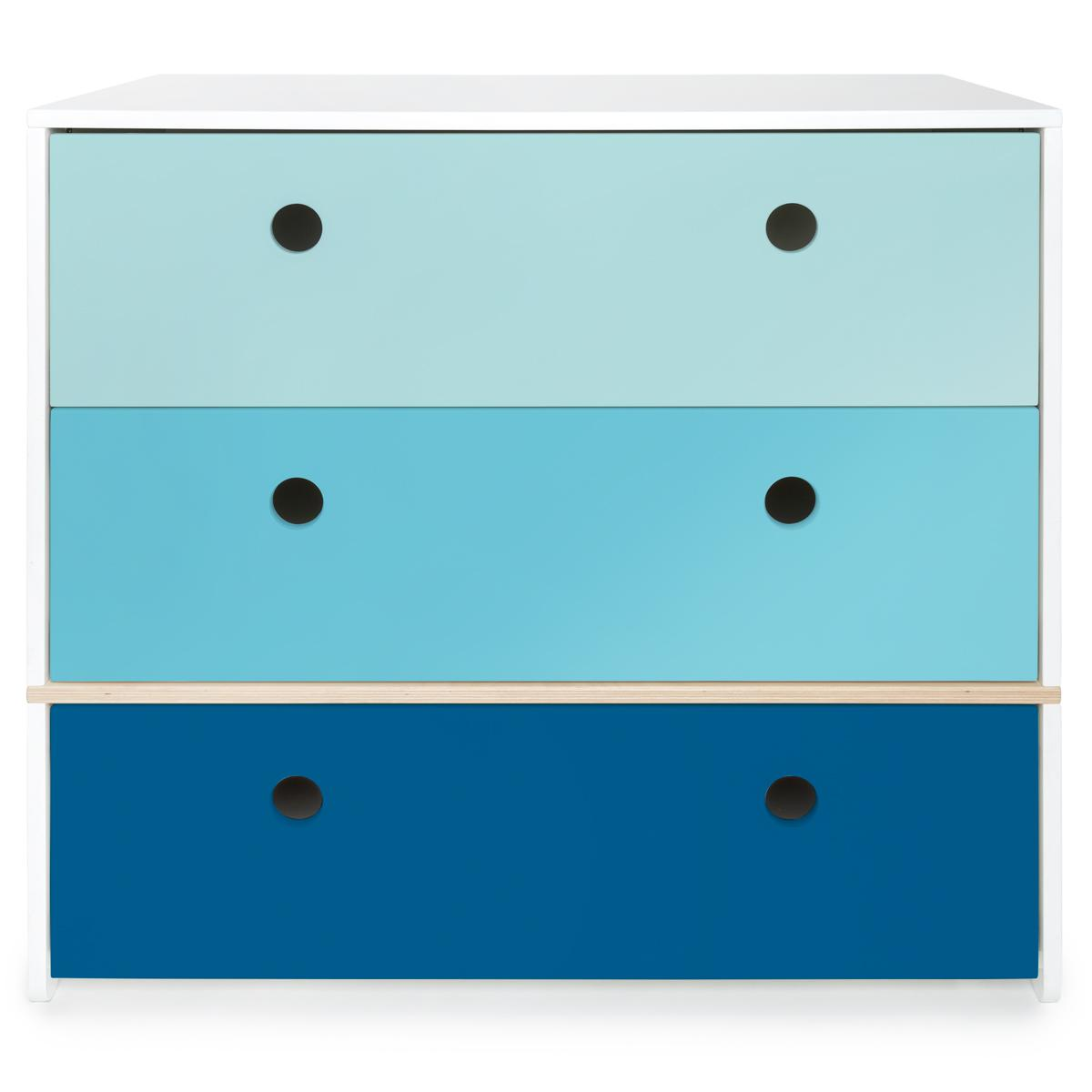 Kommode COLORFLEX Schubladen Farben sky blue-paradise blue-deep marine