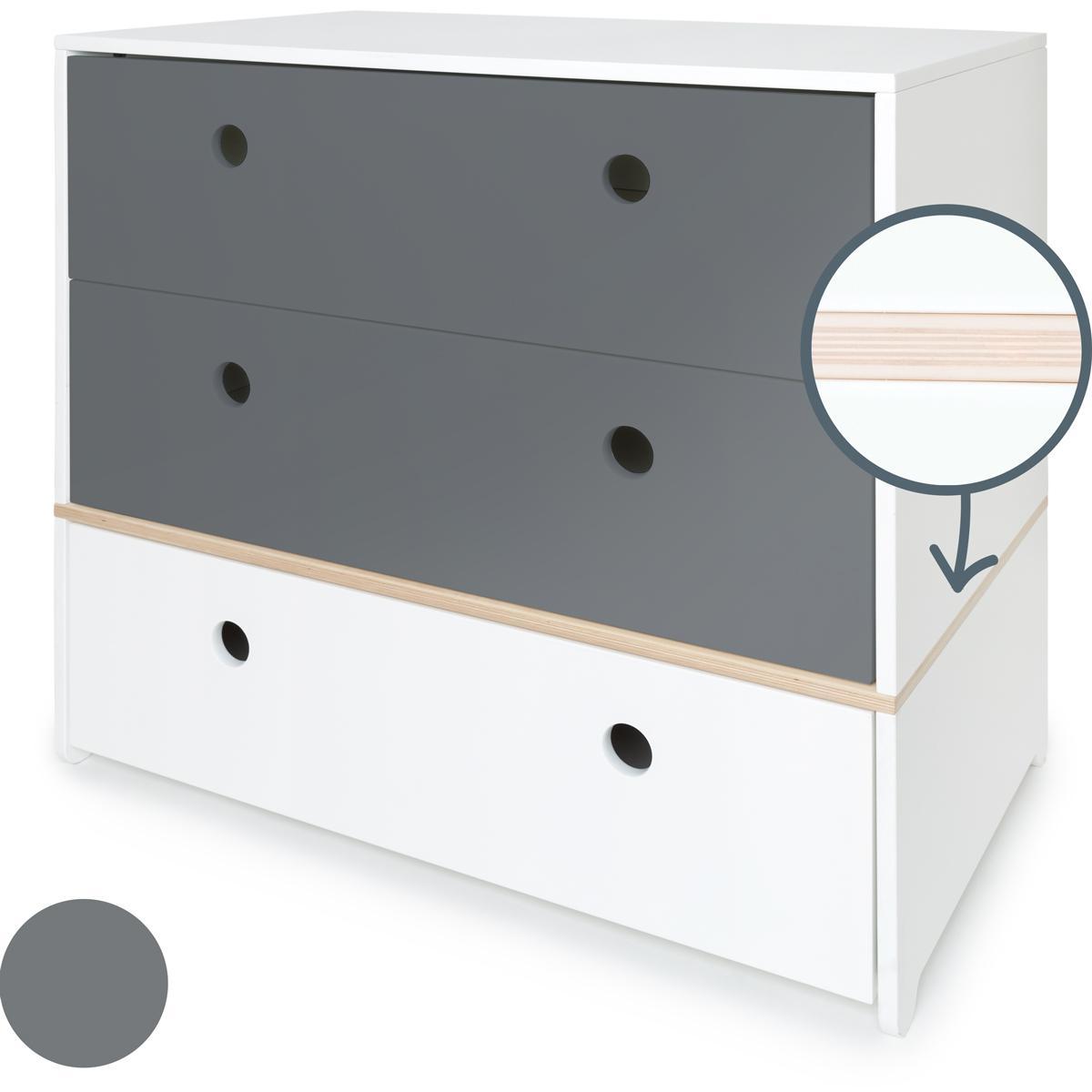 Kommode COLORFLEX Schubladen Farben space grey-space grey-white