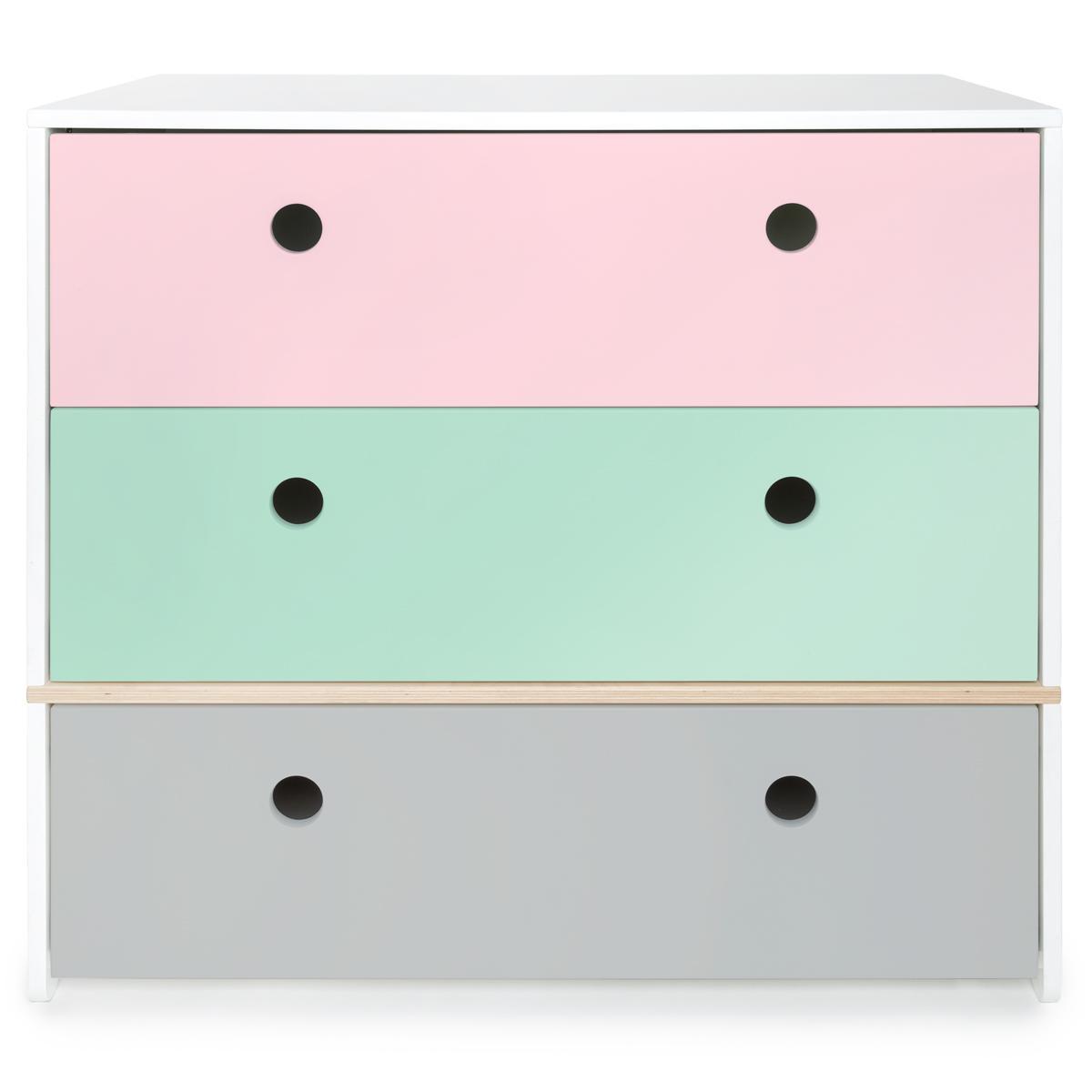 Kommode COLORFLEX Schubladen Farben sweet pink-mint-pearl grey