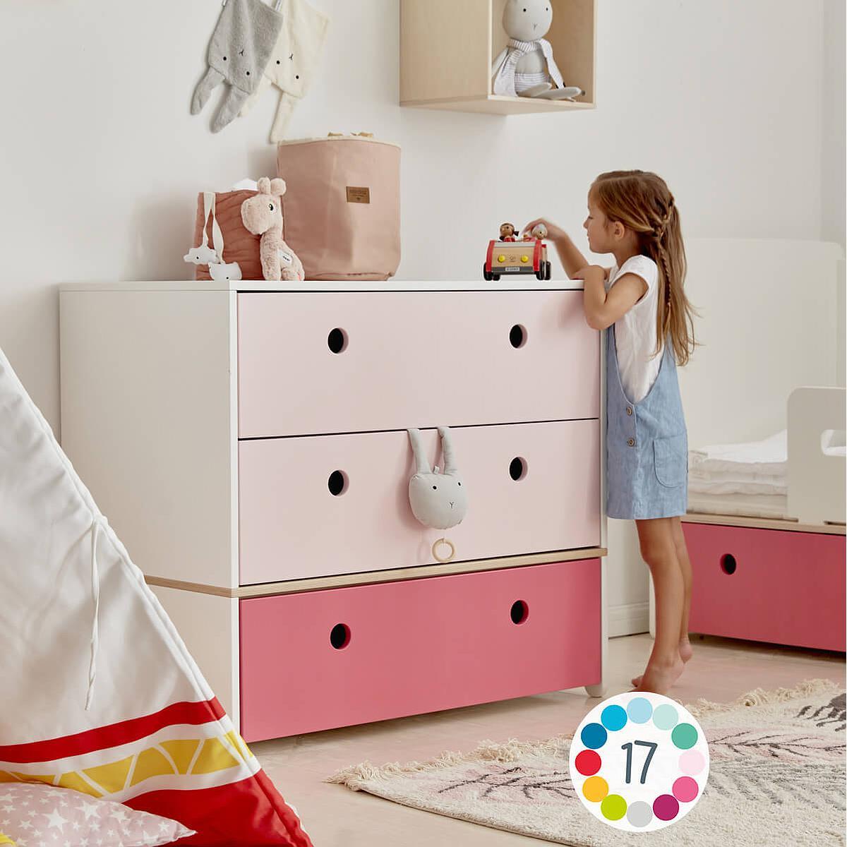 Kommode COLORFLEX Schubladen Farben sweet pink-sweet pink-pearl grey