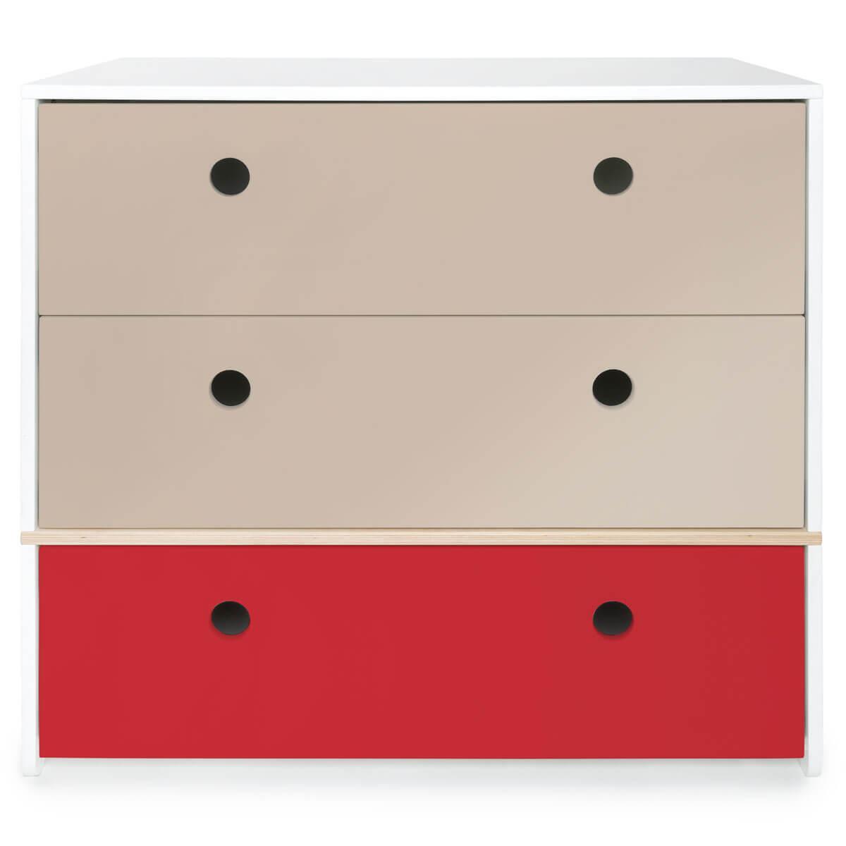 Kommode COLORFLEX Schubladen Farben warm grey-warm grey-true red