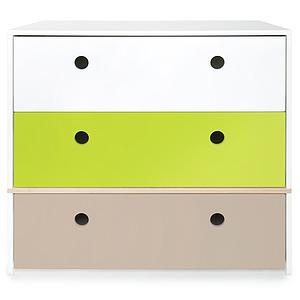Kommode COLORFLEX Schubladen Farben white-lime-warm grey