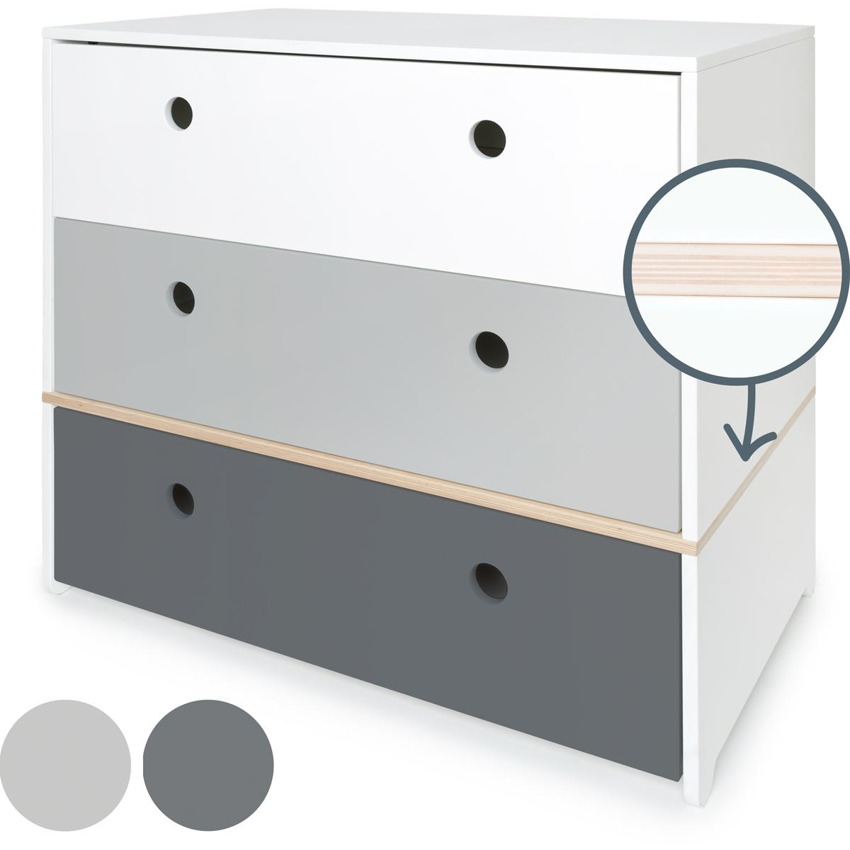 Kommode COLORFLEX Schubladen Farben white-pearl grey-space grey