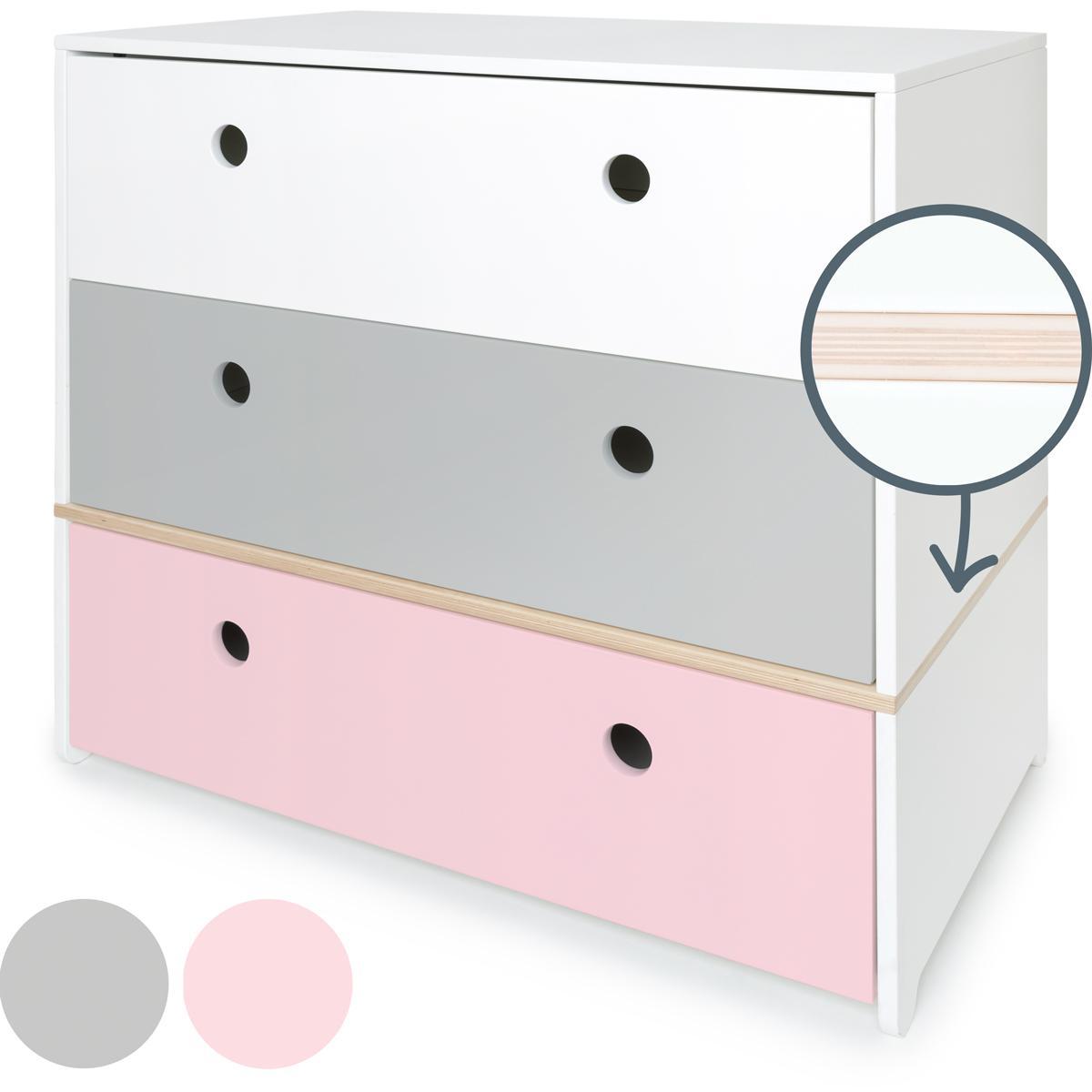 Kommode COLORFLEX Schubladen Farben white-pearl grey-sweet pink