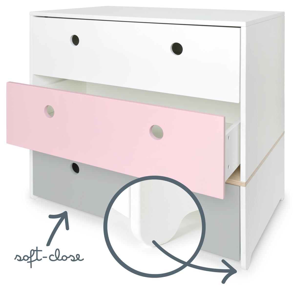 Kommode COLORFLEX Schubladen Farben white-sweet pink-pearl grey