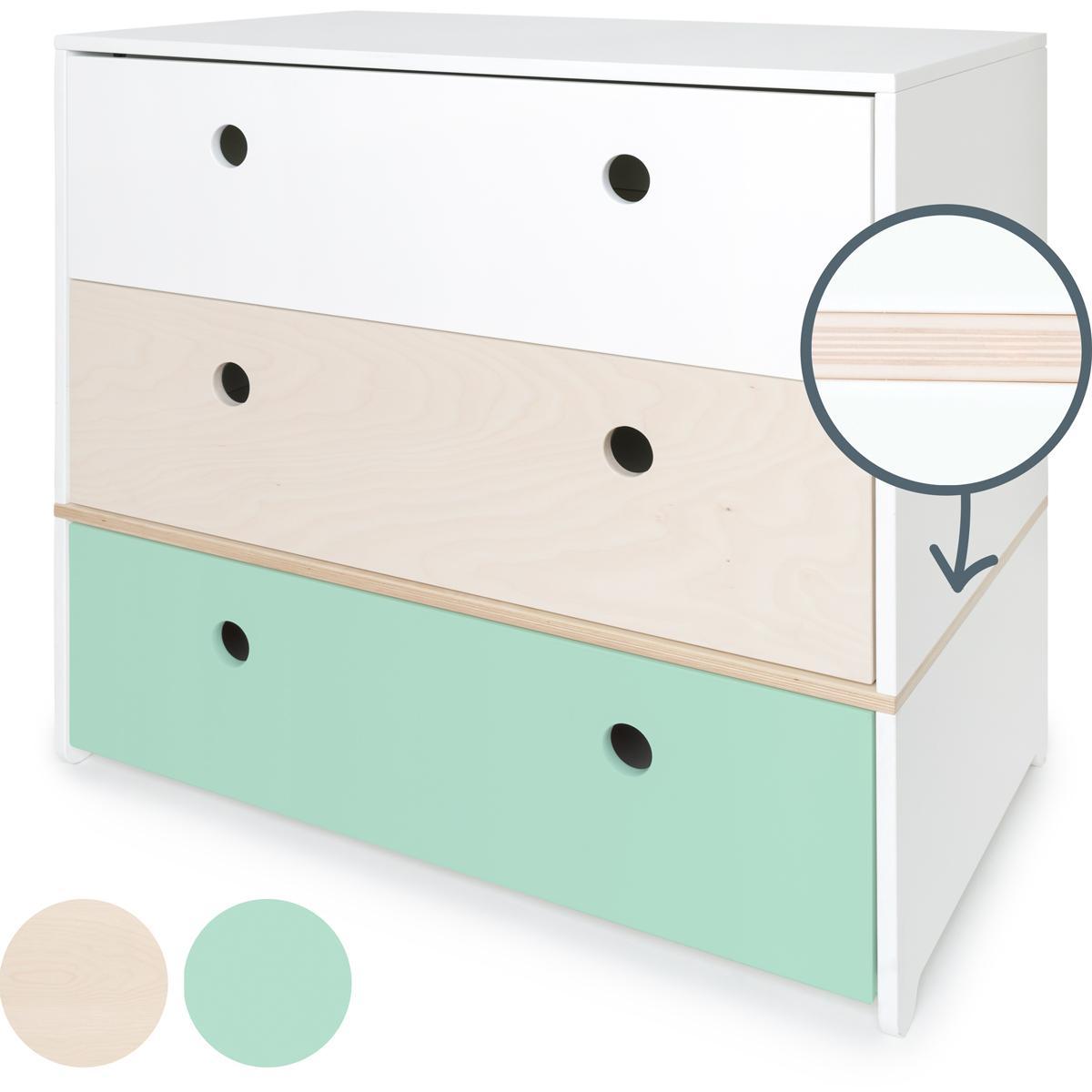 Kommode COLORFLEX Schubladen Farben white-white wash-mint