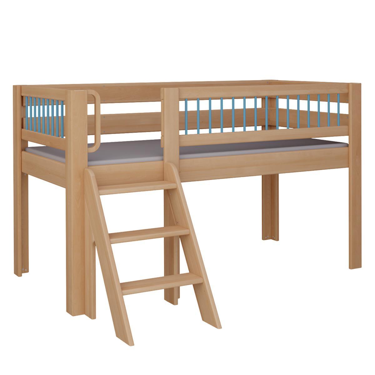 Kubu halbhohes Spielbett mit Treppe DELUXE De Breuyn natur geölt Rundstäbe blau