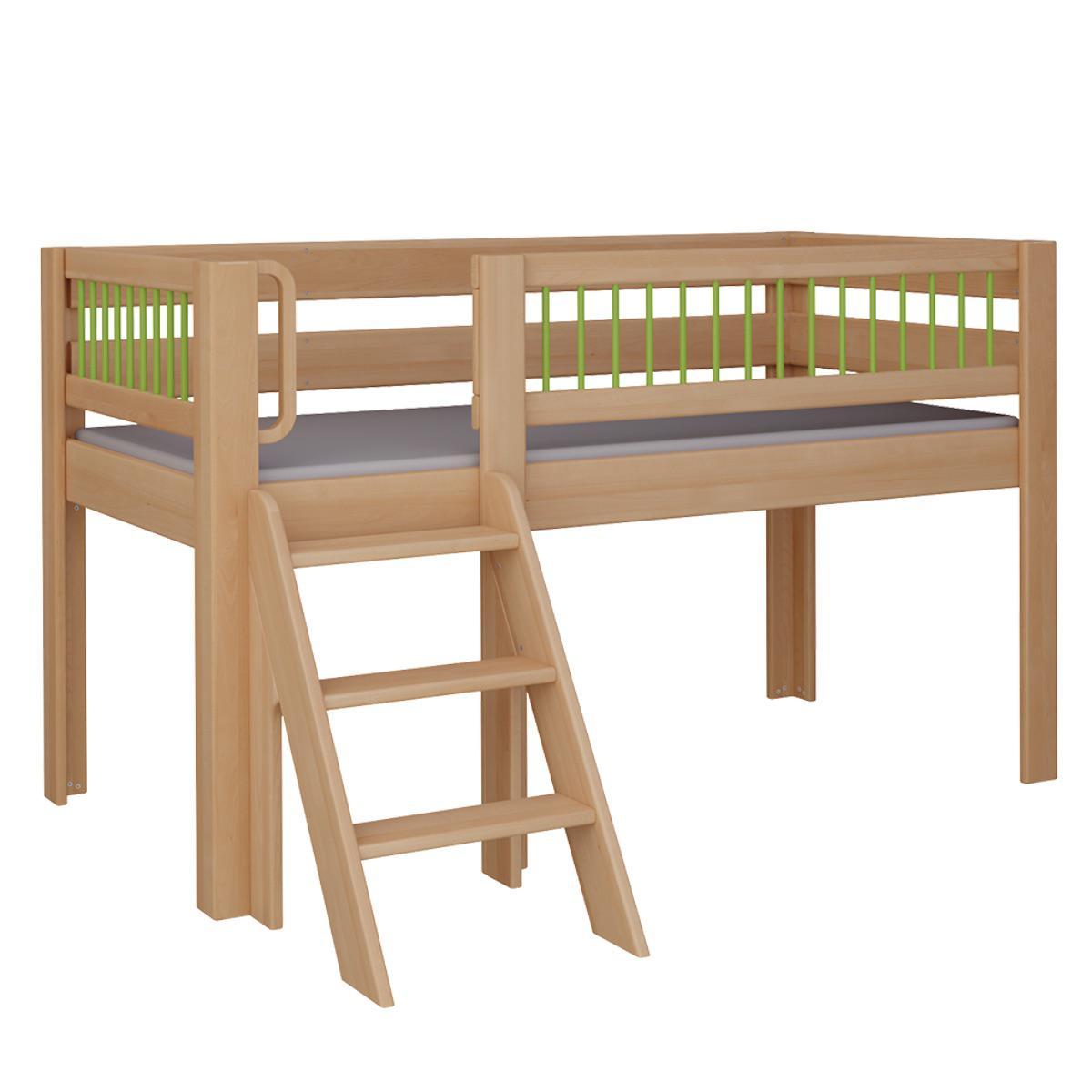 Kubu halbhohes Spielbett mit Treppe DELUXE De Breuyn natur geölt Rundstäbr grün