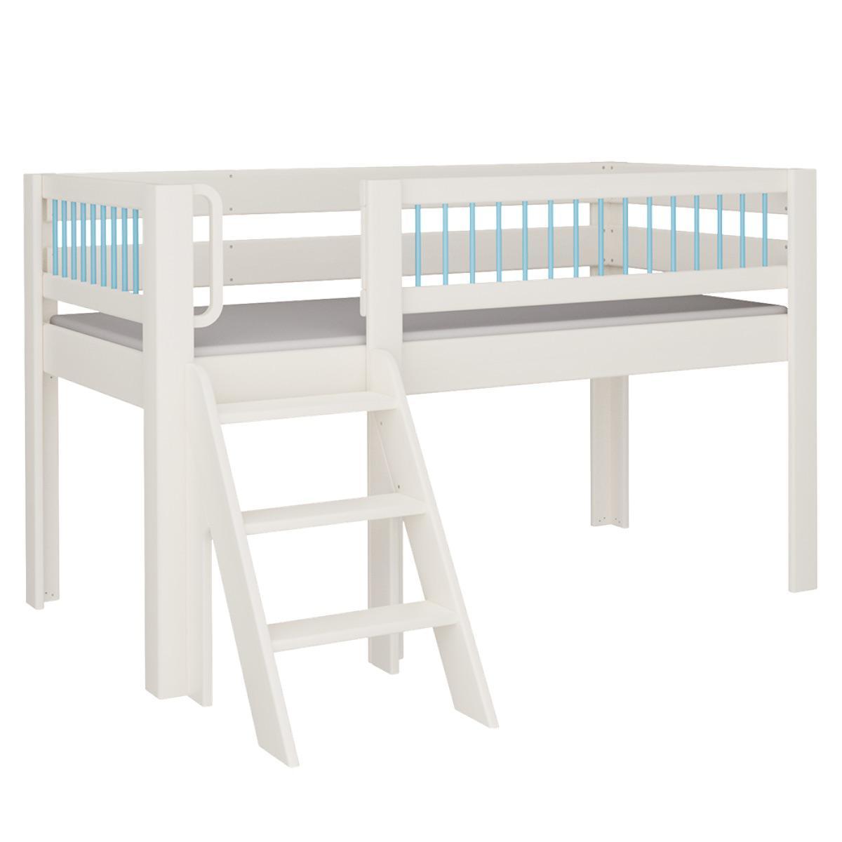 Kubu halbhohes Spielbett mit Treppe DELUXE De Breuyn weiß Rundstäbe blau