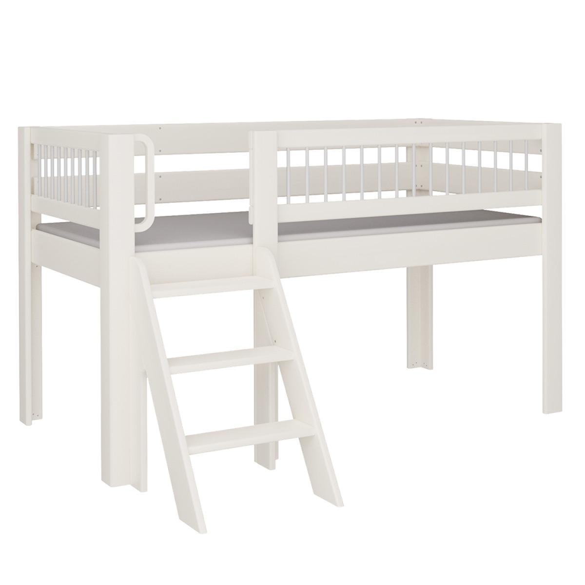 Kubu halbhohes Spielbett mit Treppe DELUXE De Breuyn weiß Rundstäbe grau