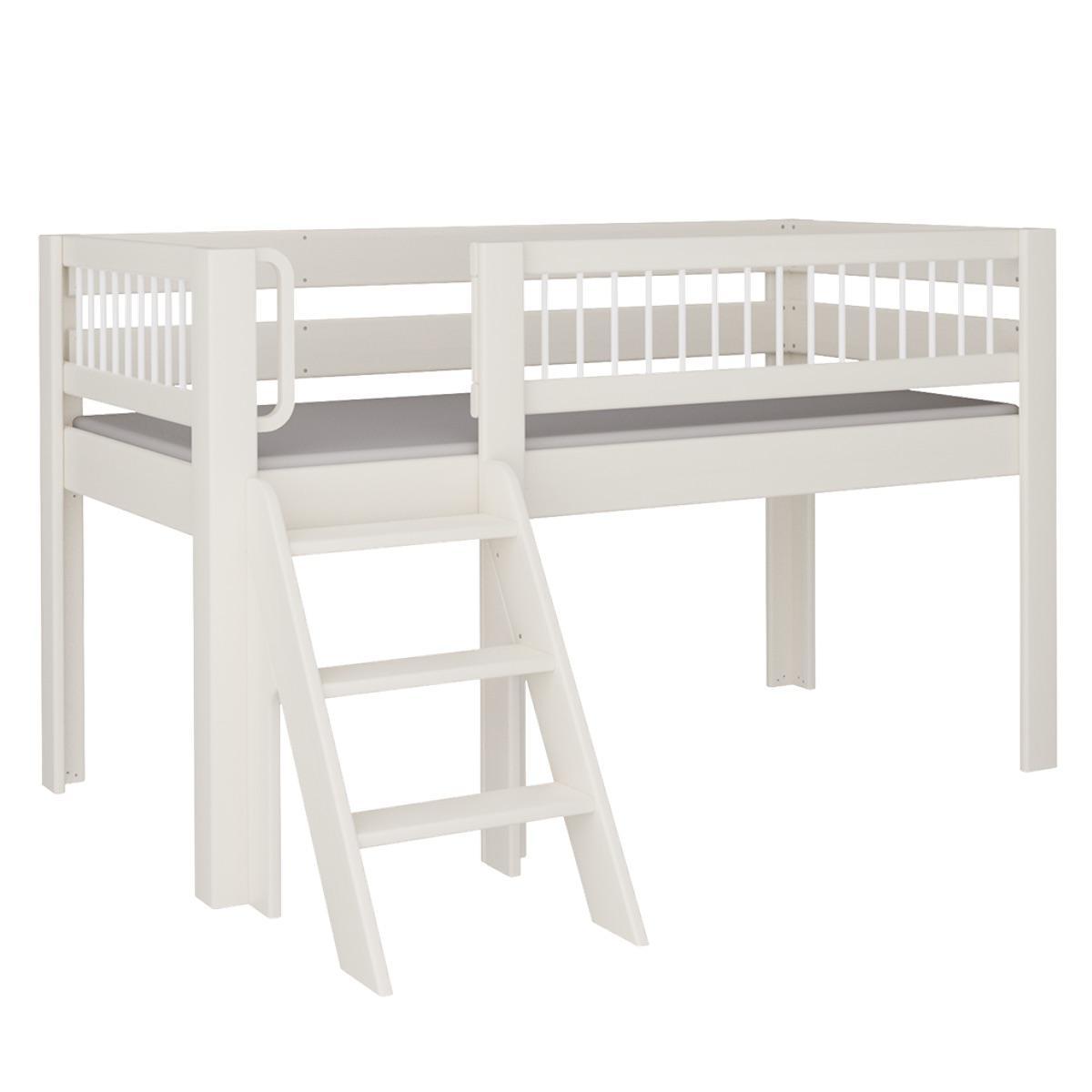 Kubu halbhohes Spielbett mit Treppe DELUXE De Breuyn weiß Rundstäbe weiß