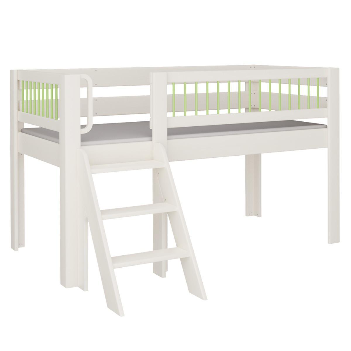 Kubu halbhohes Spielbett mit Treppe DELUXE De Breuyn weiß Rundstäbr grün