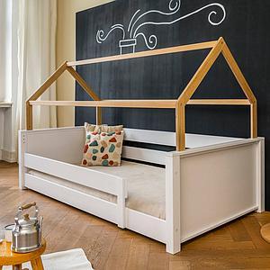 Liege-Dach bodentief-Fallschutz niedrig KASVA Debreuyn Buche massiv weiß-lackiert Eiche furniert-geölt