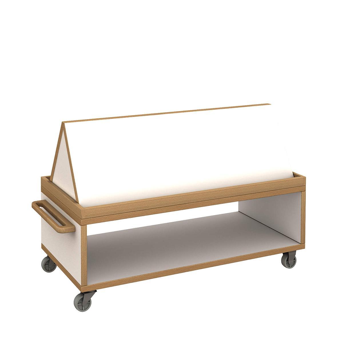 Materialwagen flach mit Buchaufsatz - DECOR Debreuyn - Melamin weiß mit Buchenkante
