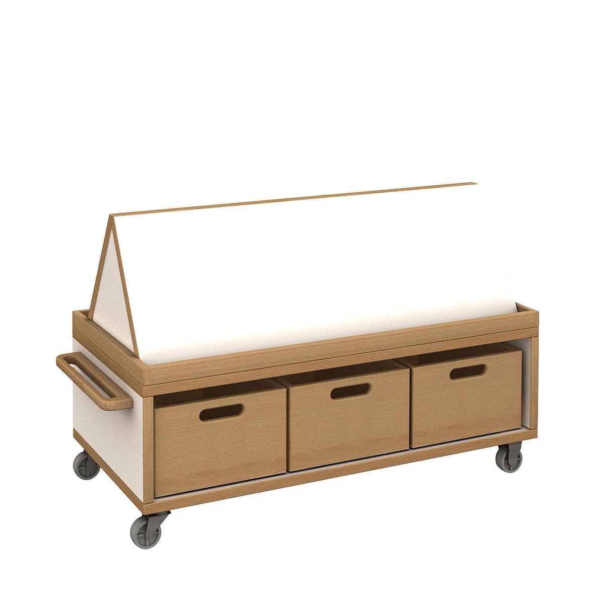Materialwagen flach mit Buchaufsatz und Kisten - DECOR Debreuyn - Melamin weiß mit Buchenkante
