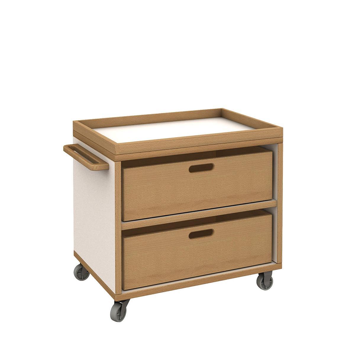 Materialwagen mit 2 Kisten - DECOR Debreuyn - Melamin weiß mit Buchenkante