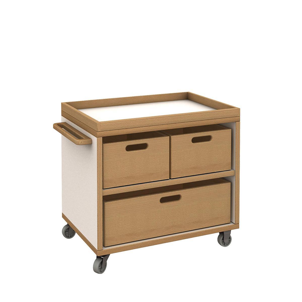 Materialwagen mit 3 Kisten - DECOR Debreuyn - Melamin weiß mit Buchenkante