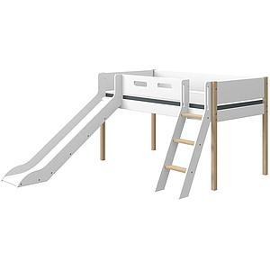 Mittelhohes Bett 200x90cm gerade Leiterrutsche NOR Flexa Eiche-weiß