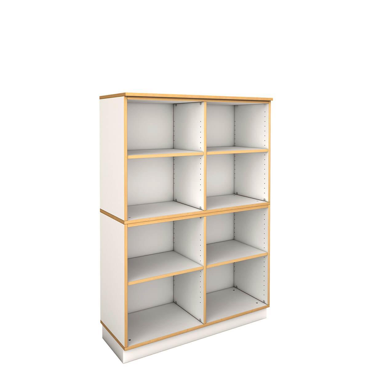 mittleres breites Regal  DECOR Debreuyn - Melamin weiß mit Buchenkante